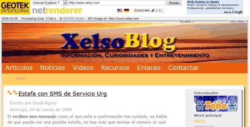 Ejemplo con NetRender en Xelso.com para la visualización.