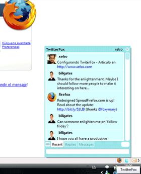 Ejemplo del Popup de Twitter Fox del Twitter de Xelso en xelso.com