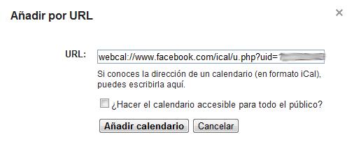 Añadir webcal por URL