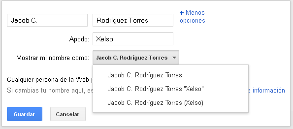 Añadir el apodo en el perfil de google plus