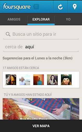 Ejemplo de la pestaña Explorar en Foursquare