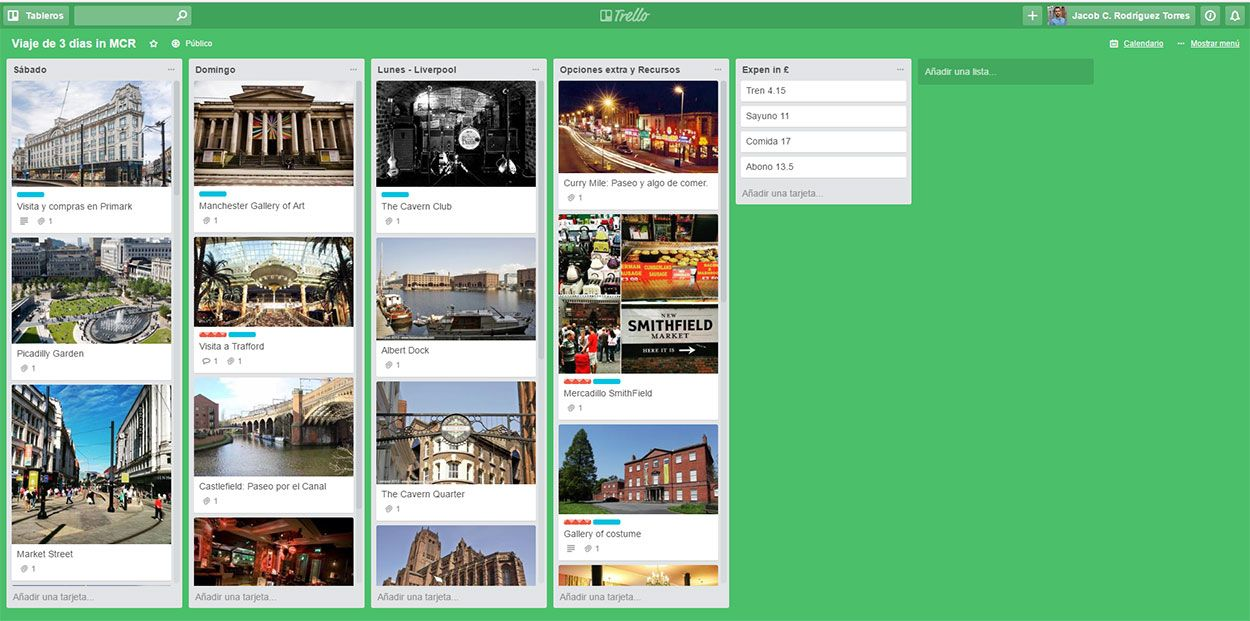 Guía de Viajes - Planificar un viaje con Trello - Ejemplo del uso de tableros en Trello