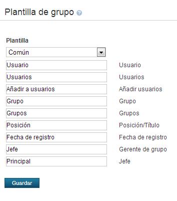Ejemplo de la plantilla de roles de usuario común en español