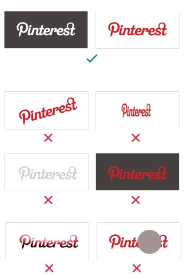 Como no hay que usar el logo de Pinterest