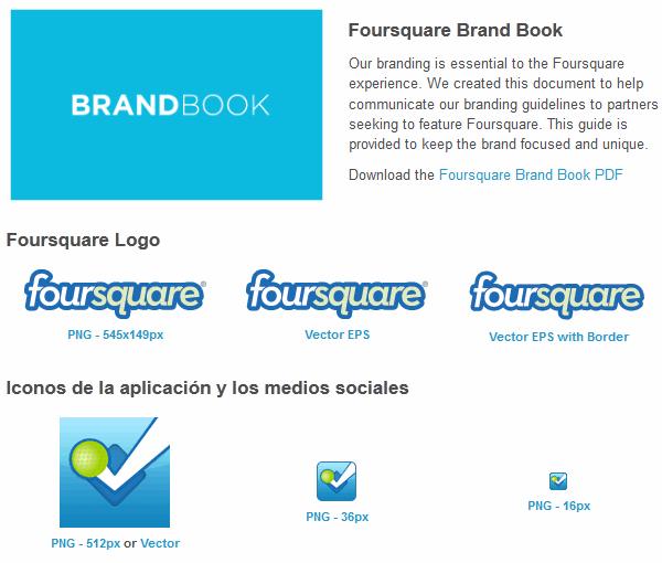 Recursos, logos, marcas e imágenes de FourSquare