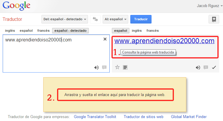Como traducir una web con Google translator