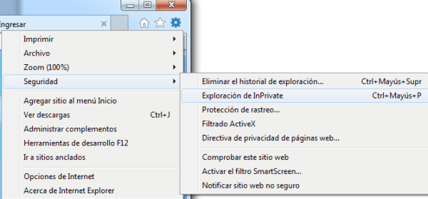 Internet Explorer - Navegación en InPrivate