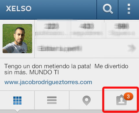 Mi perfil en Instagram con notificación de fotos etiquetadas nuevas